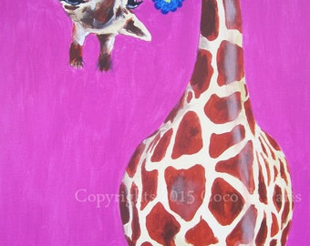 Acrylic painting of Giraffe with blue flower on streched canvas, animal portrait, handpainted by painter Coco de Paris, Flower Painting