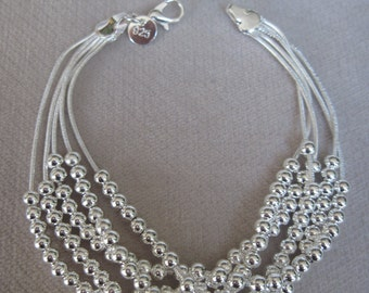 Silver Five Strands of Snake Chain with High Polish 4mm Beads Bracelet