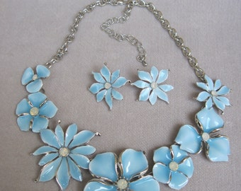 Sky Blue Enameled Bouquet of Garden Flowers Necklace with Matching Earrings