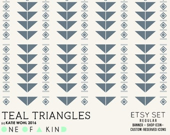 Teal Triangles - etsy set