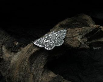 Moth Necklace - Silver Moth Necklace - Emperor Moth Pendant - Labradorite Necklace