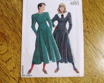 VINTAGE 1990's Modest Princess Seamed Dress w/ Dropped Waistline & Full Skirt - All Sizes (8 - 18) - UNCUT Sewing Pattern New Look 6881