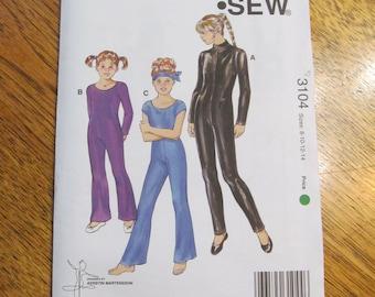 Girl's DIY Unitard / Leotard for Skating, Dance, Gymnastics - Size 8 - 10 - 12 - 14 - UNCUT Sewing Pattern Kwik Sew 3104