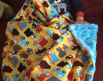 "Yellow Cars & Trucks Baby Blanket Blue Minky: ""Rollin' River"""