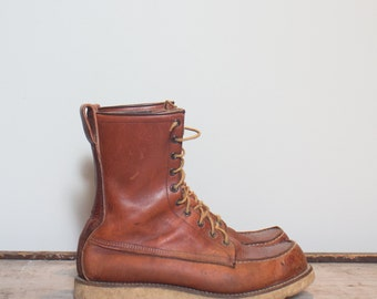 10 C | Men's Vintage Red Wing Irish Setter Boots 1970's Lace Up Moc Toe Boot