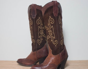 7 M   Tall Sonora Brown Wingtip High Heel Cowboy Boots