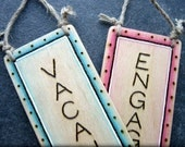 ENGAGED VACANT Reversible ENGRAVED wood sign Hand crafted ~ Choice of border finishes  ~ Toilet Bathroom Loo Office Privacy