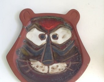 Vintage Tiger Plate.  Head ONLY Ceramic figure. 1960's.  Mod Kitsch.  Pacific Stoneware, People Lover.  Oregon Pottery.