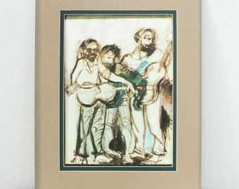 Vintage Rock Band Art Print Signed - 1960's Musician Drawing - Hippie Gesture Drawing - Guitarist Portrait Art