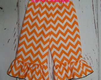Boutique Ruffle Pants or Shorts / Orange / Chevron / Tennessee Vols / Birthday / Infant / Baby / Girl / Toddler / Custom Boutique Clothing