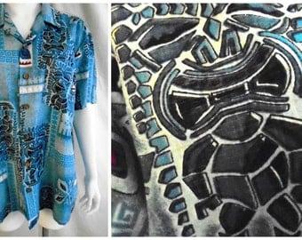 Vintage 1970's Man's Shirt Tiki God Print Aloha Shirt Summer Shirt Large