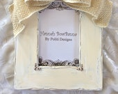 RESERVE For Iamsood: Baby Photo Frame Burlap Bow Jeweled Personalize Painted