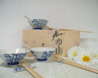 Vintage Japanese Ceramic Soup Set for 4 in Wood Box - Asian Style Blue White Porcelain Pieces Includes Rice Bowls Spoons ChopSticks & Rests