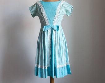 1950s Striped mint blue day dress
