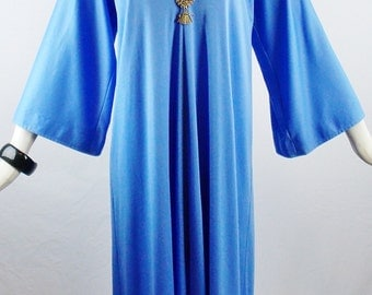 Vintage HALSTON BABY BLUE Tunic Hostess Gown Beautiful Summer Fashion Size Small Med
