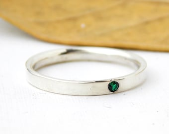 Inside Out Birthstone Ring: silver ring, sterling silver ring, dainty ring, comfort fit ring, small ring, birthstone ring, stacking ring