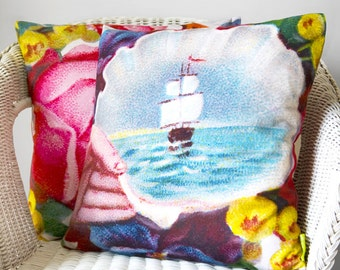 Sailing Boat Pillow Cover, Sailboat Decor, Nautical Pillows, Unique Boating Gifts, Moving Away Gift, Long Distance Gift, Ocean Lover Gift