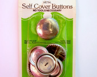 "Big Buttons to Cover Risdon Self Cover for Fabric Covered Buttons 1 1/8"" Brass Size 45 Vintage Sewing Supply DIY"