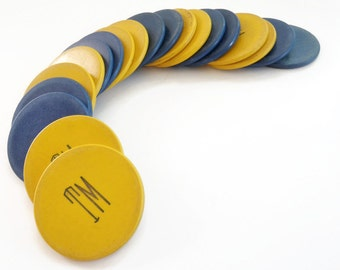 Poker Chips 20 Vintage Clay Composite Blue Gold Yellow TM Embossed Old West Montana