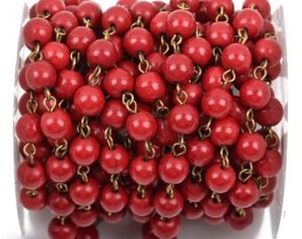 13 feet RED Howlite Rosary Chain, bronze, 8mm round stone beads, bulk on spool, fch0491b