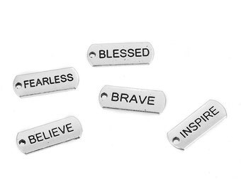 50 STAMPED Affirmation TAGS, Silver Metal Charm Pendants, Believe, Brave, Blessed, Fearless, Inspire, 21x8mm, chs2421