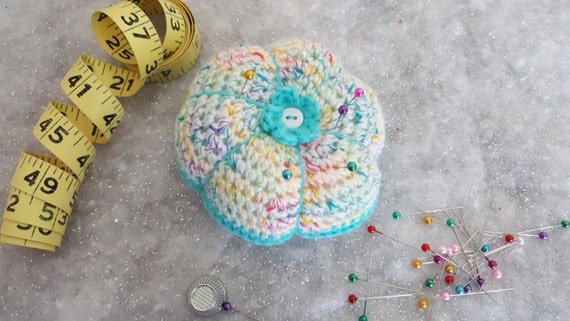 Crocheted Pin Cushion - Turquoise - 10% off!