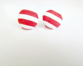 Red and white stripe Studs Earrings 4th of july earrings, candy cane earrings
