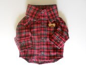 Red, Black & White Flannel Dog Shirt size XS