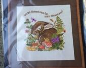 "Dimensions ""Quiet Times"" Adorable Sleeping Bunny Crewel Kit - NOS"