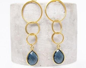 Gold Gemstone Triple Circle Dangle Earrings