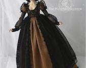 Black and gold taffeta dress set for MSD 1/4 size doll Minifee bjd clothes slim mini