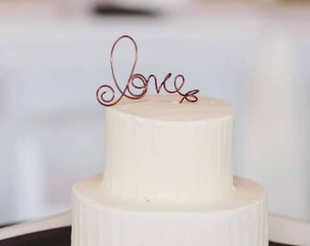 Small Love Cake Topper, Rustic Wedding Cake Decorations, 4 Or 5 Inches