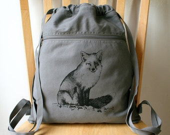 Fox Canvas Backpack Book Bag Laptop Bag