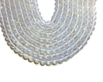 Opalite - 10mm Faceted Round Bead - Full Strand - 38 beads - Opal Glass - Moonstone Glass - Sea Opal - iridescent