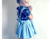 Girls Apron Skirt Blue Polka Dot Skirt Suspender Skirt for Girls Baby Skirt Baby Outfit Girl Cotton Skirt Summer Spring Skirt 2T 3T 4T 5 6 7