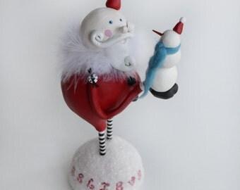Whimsical Santa - Whimsical Snowman - Clay Santa - Clay Snowman