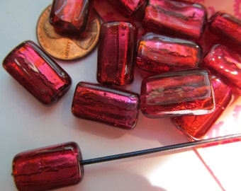 8 Cherry Red Western German Glass Foil Beads