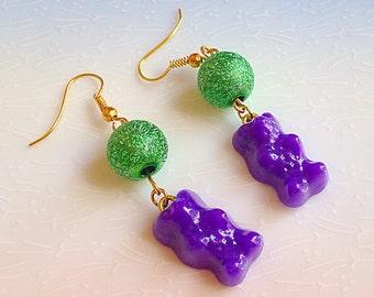 Candy Bear Earrings - Kawaii, Kitsch, Colour Pop, Sweet, Purple, Green, Teddy