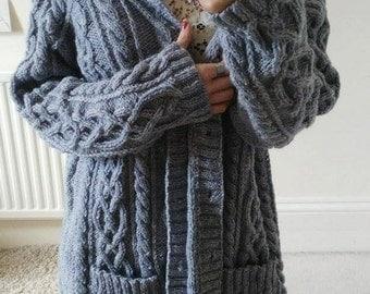 Beautiful grey Aran cardigan hand knitted jacket L