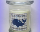Oh Boy!  Whale  Baby Shower Favor, White with plaid, 8 ounce Soy candle, Baby Boy Gift