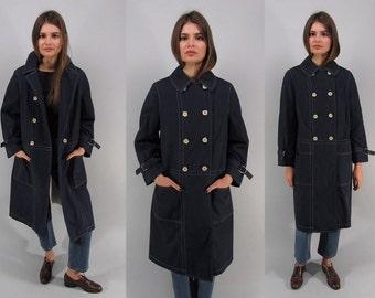 Vintage 60s Nautical Mod Coat, Double-Breasted Coat, Navy Raincoat, All Weather Coat, Midi Raincoat Δ fits sizes: sm / md / lg