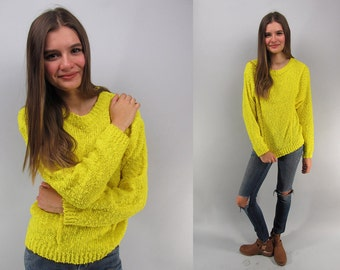 Vintage 80s Neon Sweater, Loose Knit Sweater, Slouchy Sweater, Nubby Sweater, Jumper, 80s Oversized Sweater Δ size: sm / md