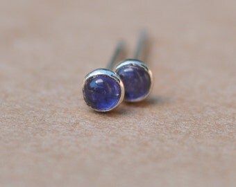 Iolite Earrings handmade with Sterling Silver Studs. 3mm Blue Cabochon Gemstones and silver earrings, silver jewelry, 925, gifts, birthdays