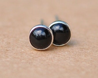 Black Onyx earrings handmade with Sterling Silver studs, 4mm Mysterious black cabochon gemstone and silver stud earrings, gift, 925 jewelry