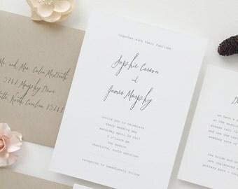 Simple Wedding Invitation Sample - Sophie | Letterpress Wedding Invitation | Grey | Gray Wedding Invitation | Script Wedding Invitation