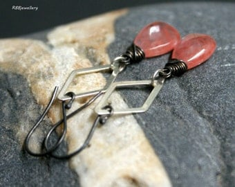 Wire Wrapped Sterling Silver Cherry Quartz Drop earrings