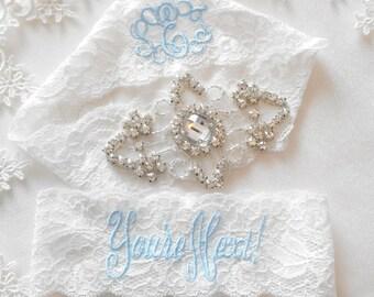 Wedding GarterFrancesca Beautiful Ivory or White Lingerie Stretch Lace Customized Bridal Garter Set Rhinestone Setting on Lingerie Lace