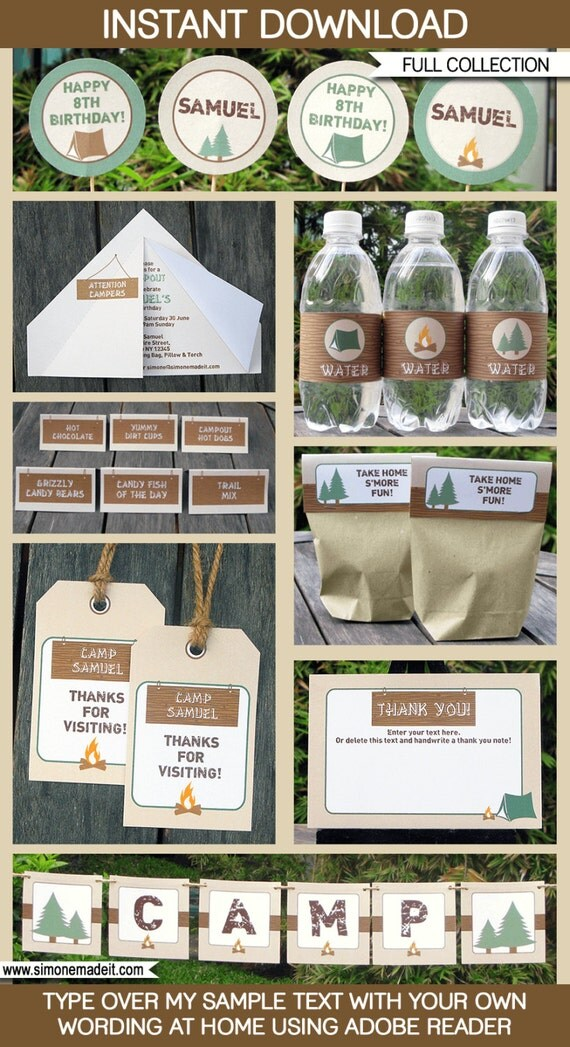 Camping Party Invitations & Decorations - full Printable Package - INSTANT DOWNLOAD with EDITABLE text - you personalize at home