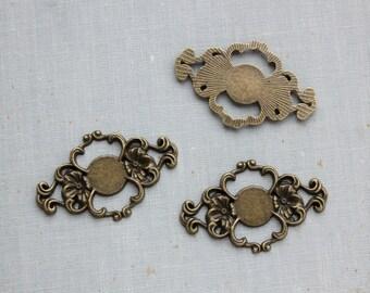 Antique Bronze Floral Connectors