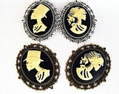 Silver Or Bronze Cameo  Brooch Pins,    Gothic Lolita Bride and Groom -  Choose Your Frame Finish Mens Womens Gift Handmade